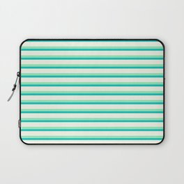 Seafoam Green & Cream Stripes Laptop Sleeve