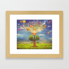 Little boy sitting on the tree and  reading a book, objects flying out Framed Art Print