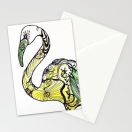 Yellow Flamingo Illustration Stationery Cards