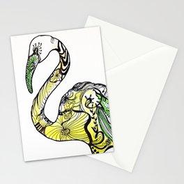 Yellow Flamingo Illustration Stationery Cards