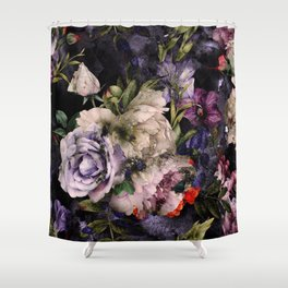 Flowes on black Shower Curtain