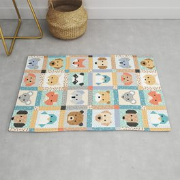 Animal Faces Cheater Quilt Rug