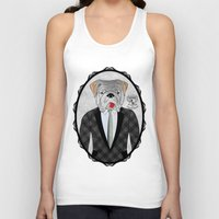 english bulldog Tank Tops featuring Mr. Dandy - English Bulldog by Rozenblyum Couture