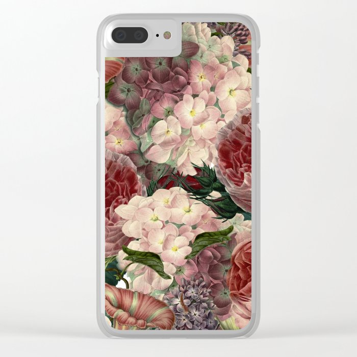 Vintage & Shabby Chic Pink Dark Floral Roses Lilacs Flowers Watercolor Pattern Clear iPhone Case