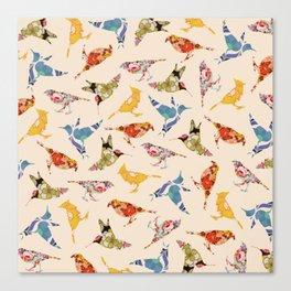 Vintage Wallpaper Birds Canvas Print
