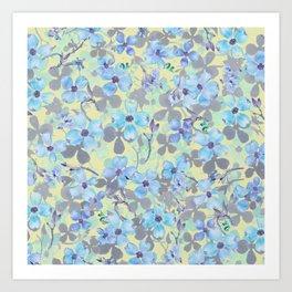 Botanic teal blue yellow gray watercolor floral Art Print