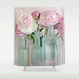 Peonies Shabby Chic Cottage Pink Aqua Peony Bottles Art Print Home Decor Shower Curtain