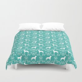 Dalmatian silhouette florals dog breed gifts for dalmatians floral pattern Duvet Cover