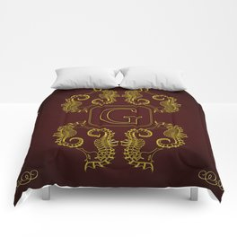 Letter G Seahorse Comforters