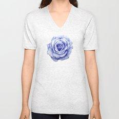 Ballpoint Blue Rose Unisex V-Neck