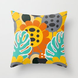 Sunflowers and leaves Throw Pillow