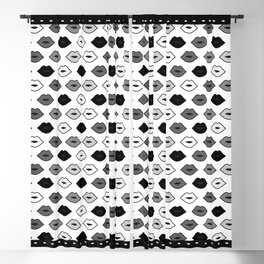 Chessboard Lips - Black and White Blackout Curtain