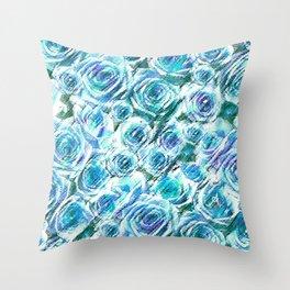 Textured Roses Blue Amanya Design Throw Pillow