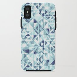 Turquoise Watercolor Triangles iPhone Case