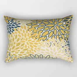 Floral Prints, Abstract Art, Navy Blue and Mustard Yellow, Coloured Prints Rectangular Pillow