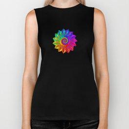 Psychedelic Rainbow Spiral Fractal Biker Tank