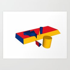 geometric primary colours Art Print