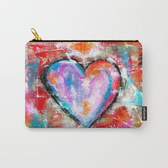 Reckless Heart, Abstract Expressionist Painting Red Pink Blue Carry-All Pouch