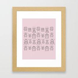 Beetles (Primrose Pink) Framed Art Print