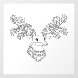 Autumn Deer with Acorns and Leafs Art Print