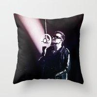 u2 Throw Pillows featuring U2 / Bono 4 by JR van Kampen