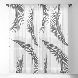 Palm Leaves - Black and White Sheer Curtain