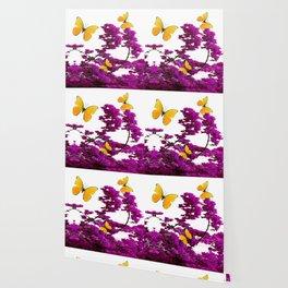 YELLOW BUTTERFLIES & PURPLE BOUGAINVILLEA FLOWERS Wallpaper