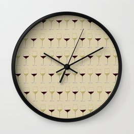 Red & White Wine Time Beige Wall Clock