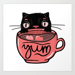 Black Fluffy Coffee Stealing Cat - adorable illustration for cat lovers and coffee lovers alike Art Print