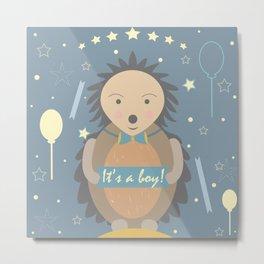 Baby Shower Hedgehog Metal Print