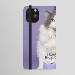 Happy Birthday Fat Cat In Party Hat With Cake iPhone Wallet Case