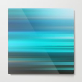 Aqua Blue Abstract Art Geometric Stripes Metal Print