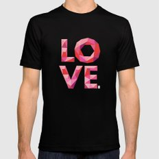 Red Faceted Love Stacked Black Mens Fitted Tee MEDIUM