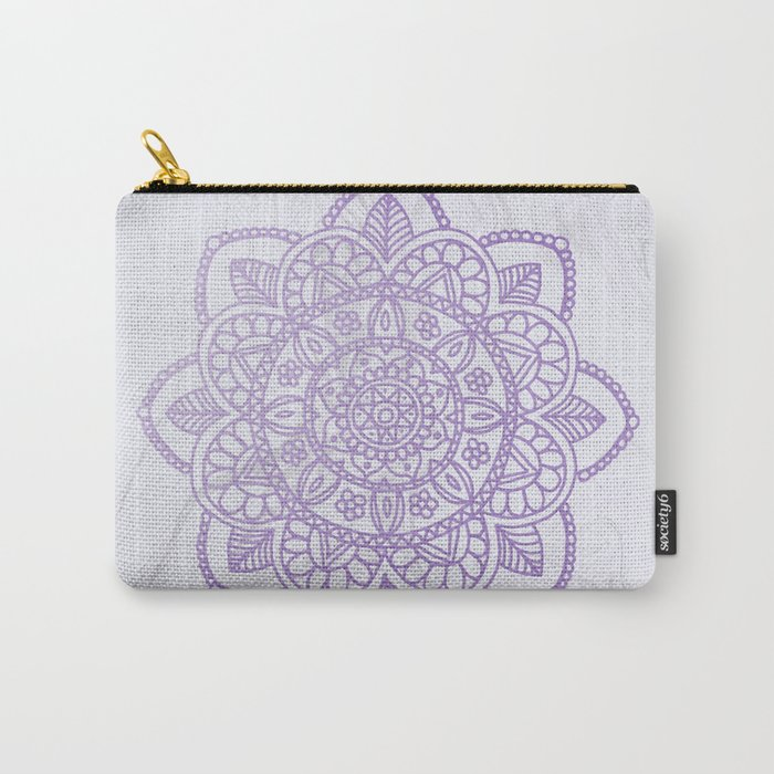 Lavender Mandala on White Marble Carry-All Pouch