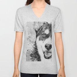 Black And White Half Faced Husky Dog Unisex V-Neck