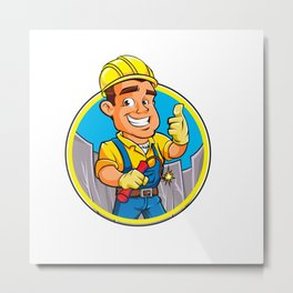 Cartoon man  with dynamite stick. Metal Print