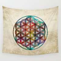 flower of life Wall Tapestries featuring Flower of Life by Klara Acel