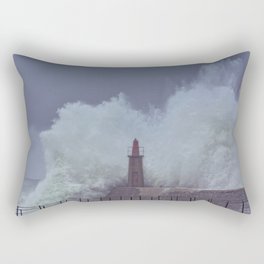 Stormy wave over old lighthouse and pier of Viavelez Rectangular Pillow