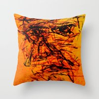 depression Throw Pillows featuring Depression in Charcoal by Abram Freitas