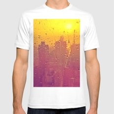 NYC Rain White Mens Fitted Tee SMALL
