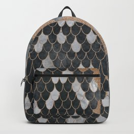 Marble Storm Cloud // Copper Streak Lightning Bolt Black and Gray Watercolor Gradient Decor Backpack