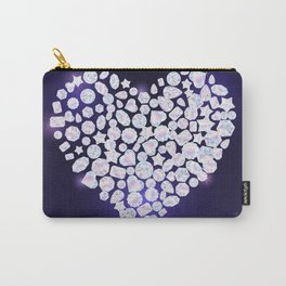 Jewels gemstones and crystals in Valentines heart shape. Carry-All Pouch