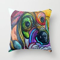 the hound Throw Pillows featuring Hound Dog by EloiseArt