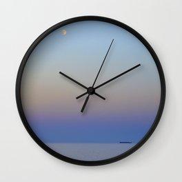 High Sea. Full Moon and ship At Sunset Wall Clock