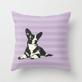 PURPLE STRIPE CORGI Throw Pillow