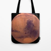 mars Tote Bags featuring Mars by Tobias Bowman