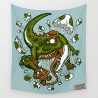 egg Wall Tapestries featuring Mortal egg by Adrian Filmore