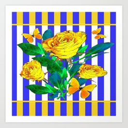 YELLOW SPRING ROSES & BUTTERFLIES WITH LILAC STRIPES Art Print