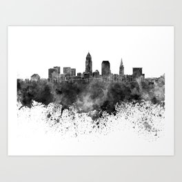 Cleveland skyline in black watercolor on white background Art Print
