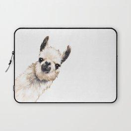Sneaky Llama White Laptop Sleeve